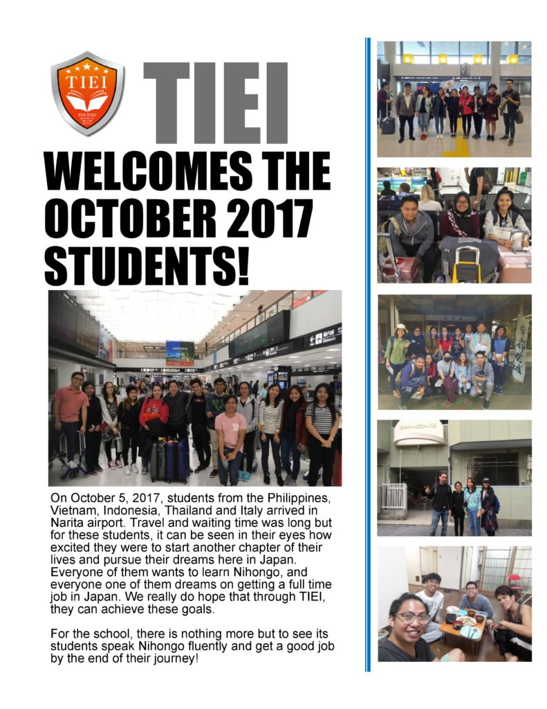 TIEI - Welcomes the October 2017 Students